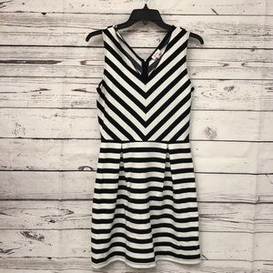 Stitch Fix Pixley striped front pleat flared dress
